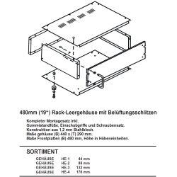 """19"""" Leergehäuse Rack 480 mm 1 HE 29cm Tief Lüftungsschlitze 1,2mm Stahl Schwarz Lackiert"""