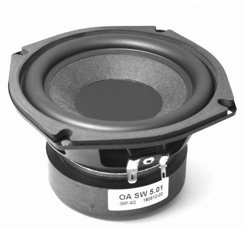 "Omnes Audio SW 5.01 Subwoofer Bass Tieftöner Langhub 130mm 13cm 5"" 80W 4Ohm"
