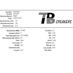 "Tang Band W5-1611SAF Breitband Lautsprecher Breitbänder Bass 13cm 5"" 56W 8Ohm 90dB"